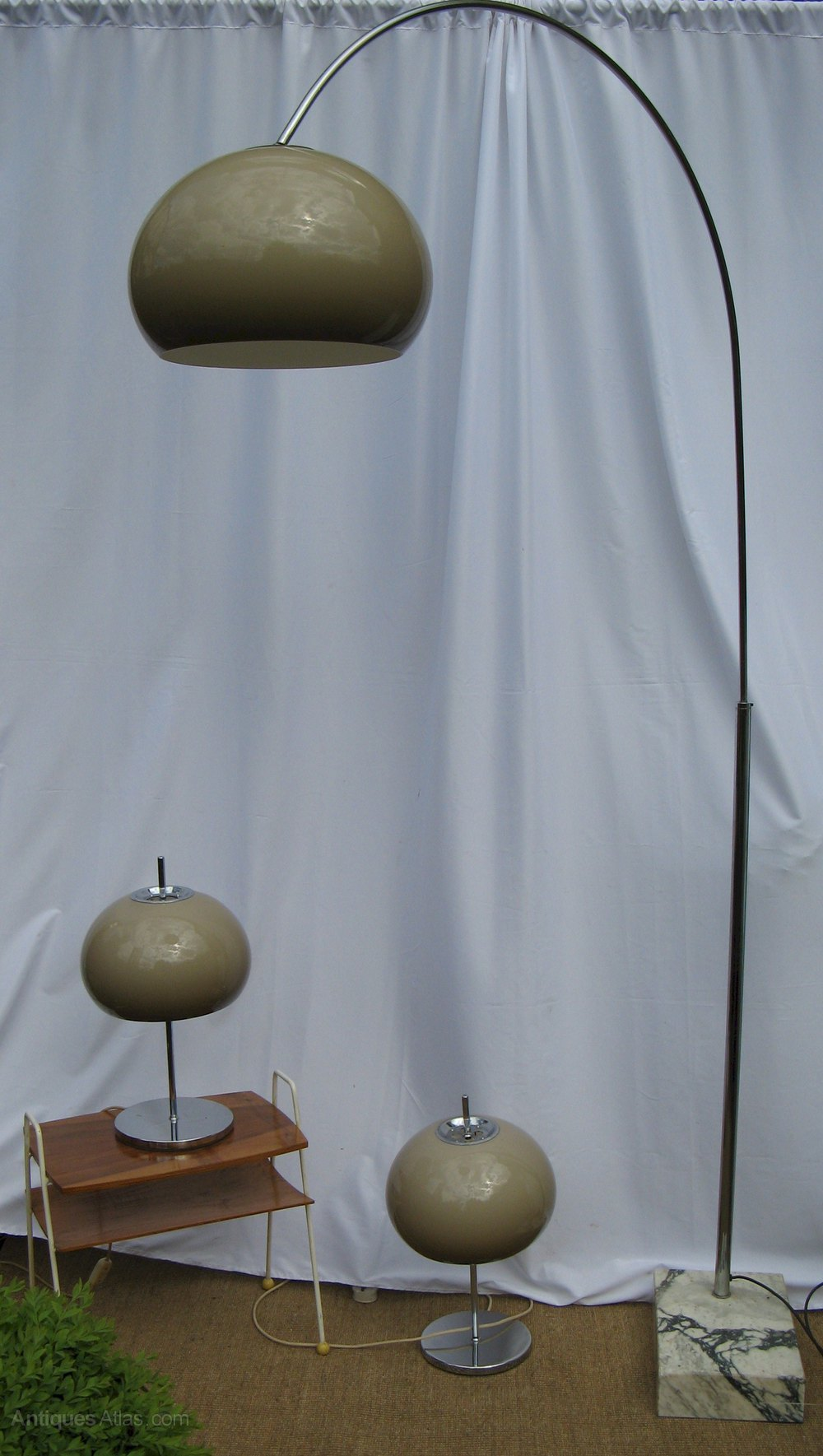 Antiques atlas 1970 39 s arc lamp chrome on marble base for 1970s floor lamps