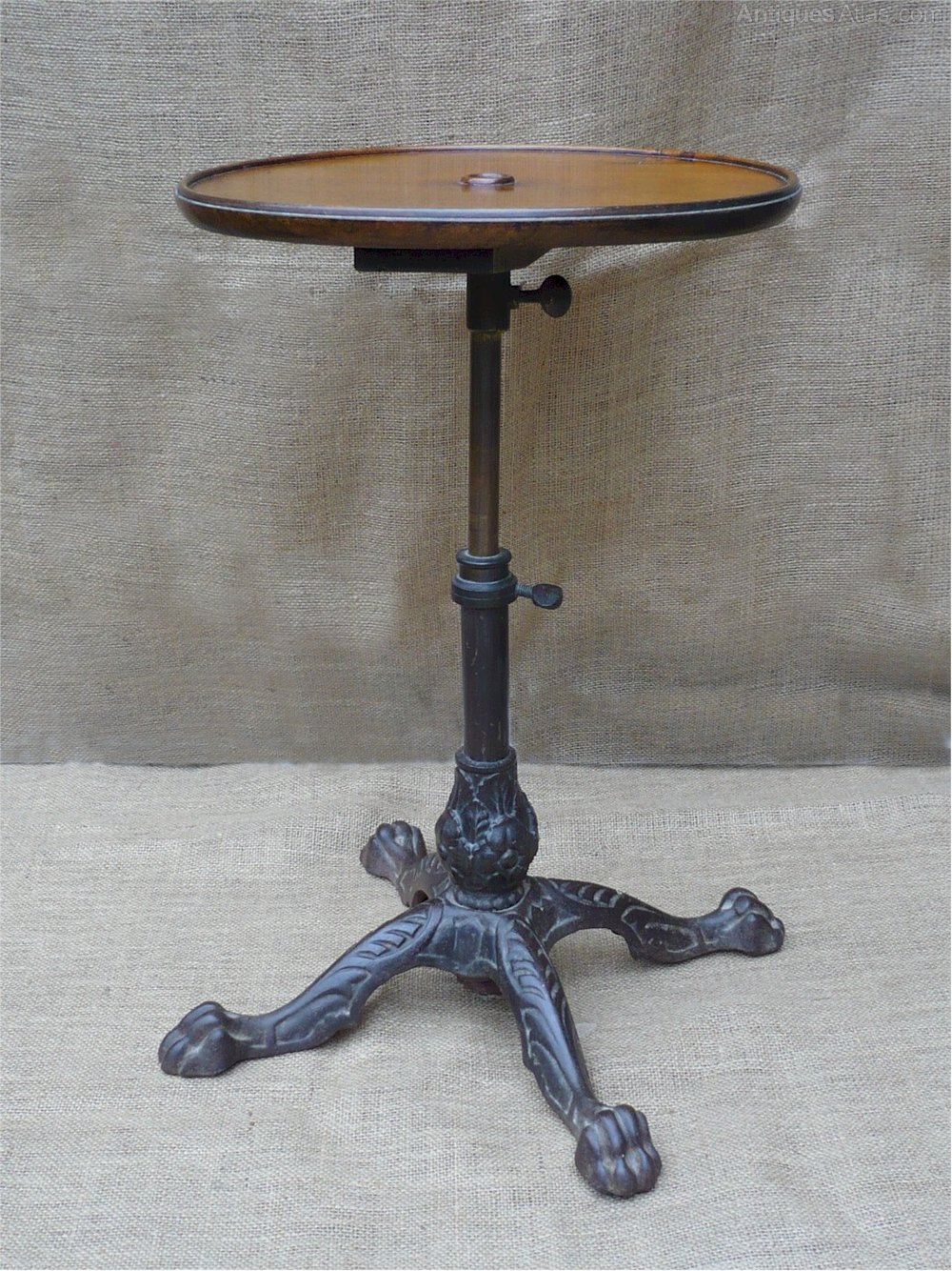 Adjustable Walnut Side Table With Cast Iron Base