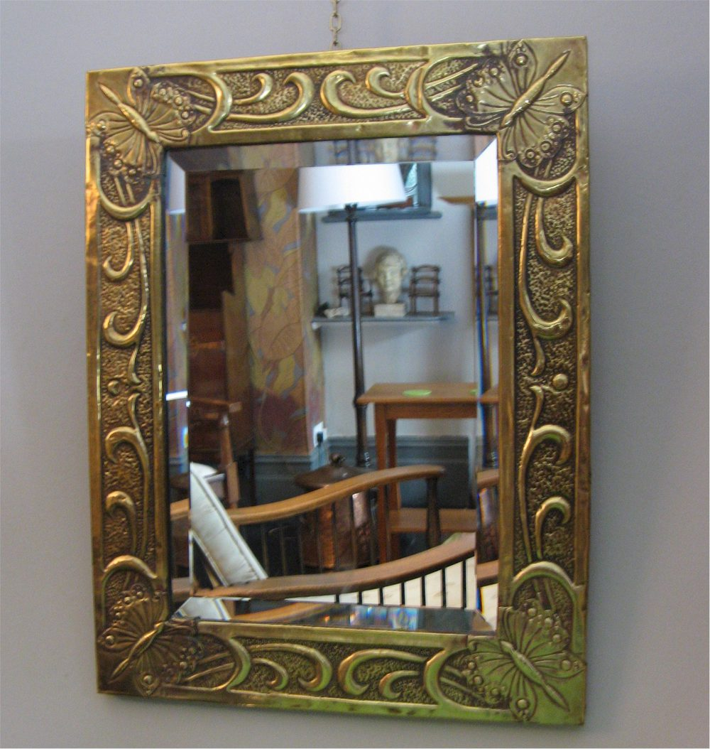 Antiques atlas arts and crafts brass butterfly mirror for Decorative crafts mirrors
