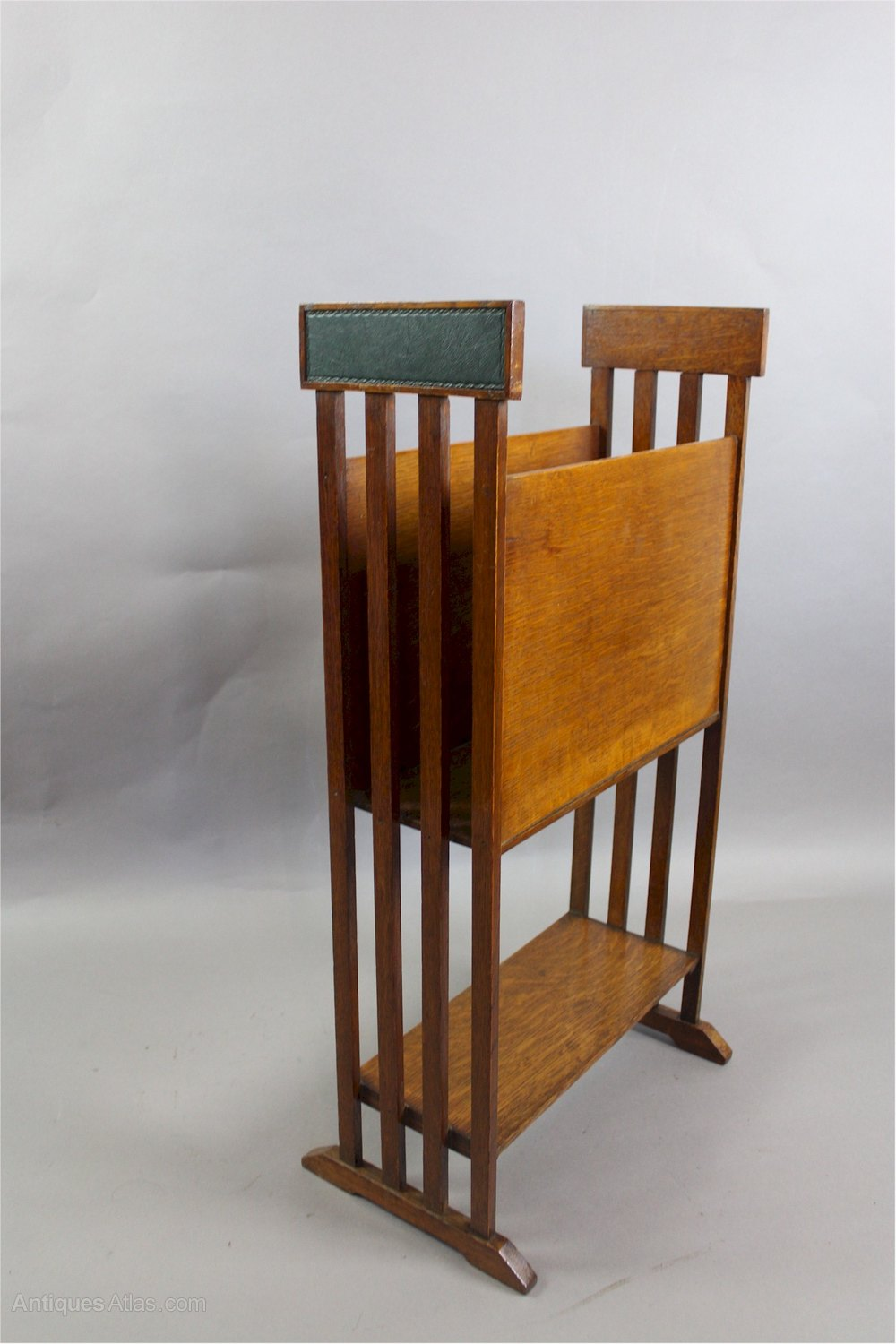 arts and crafts oak and leather magazine rack antiques atlas. Black Bedroom Furniture Sets. Home Design Ideas
