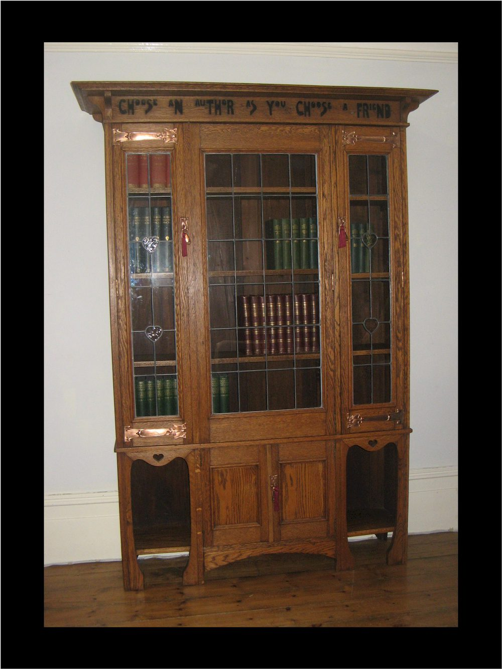 Antique arts and crafts furniture - Arts And Crafts Oak Glazed Bookcase With Motto Antique Glazed Bookcases Arts And Crafts Oak