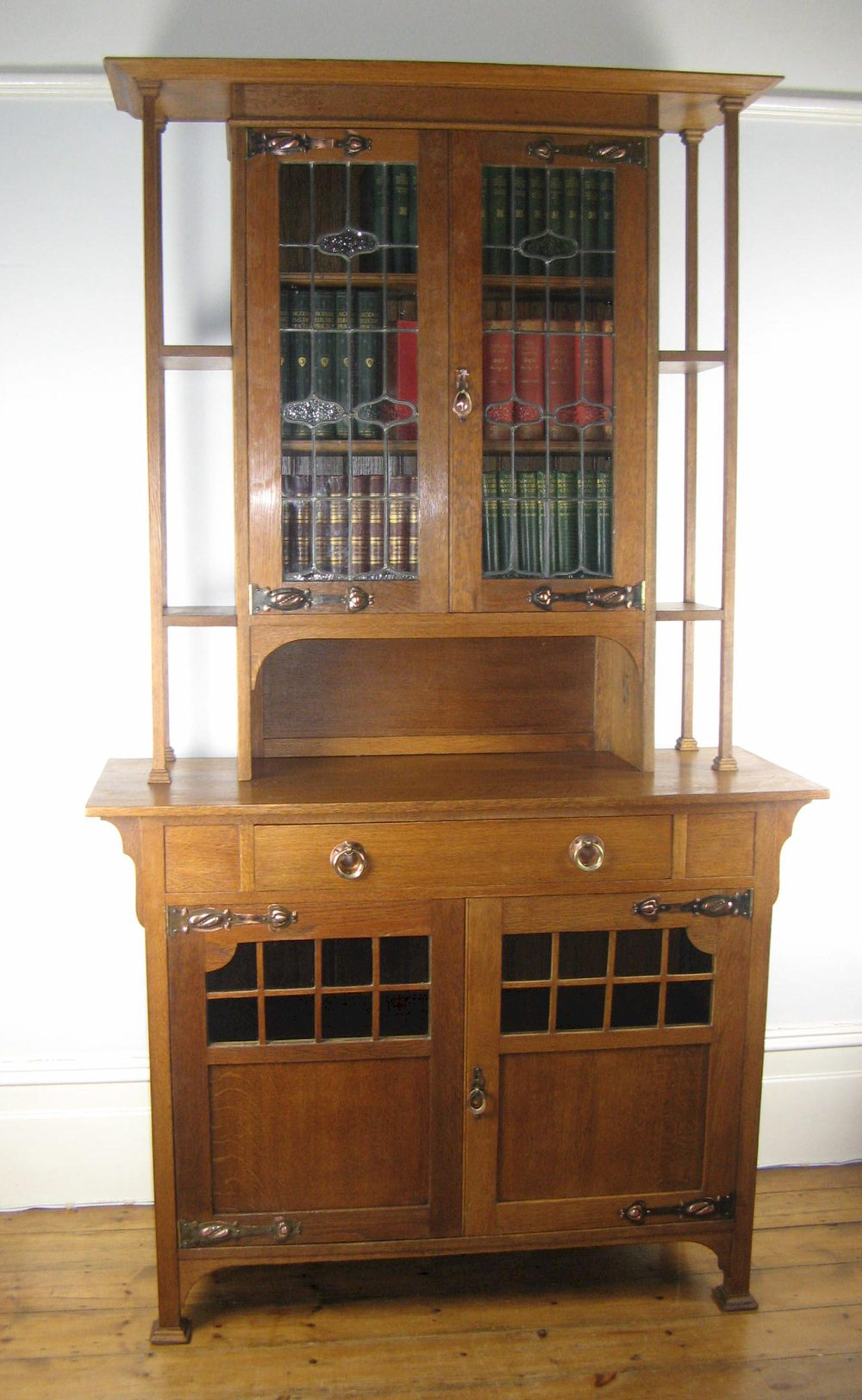 Arts and crafts oak glazed bookcase sideboard antiques for Arts and crafts bookshelf