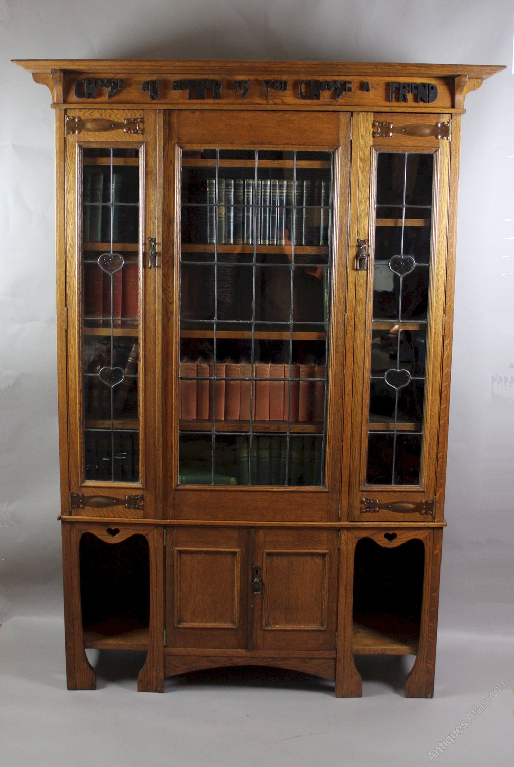 Arts and crafts oak glazed bookcase with motto antiques for Arts and crafts bookshelf