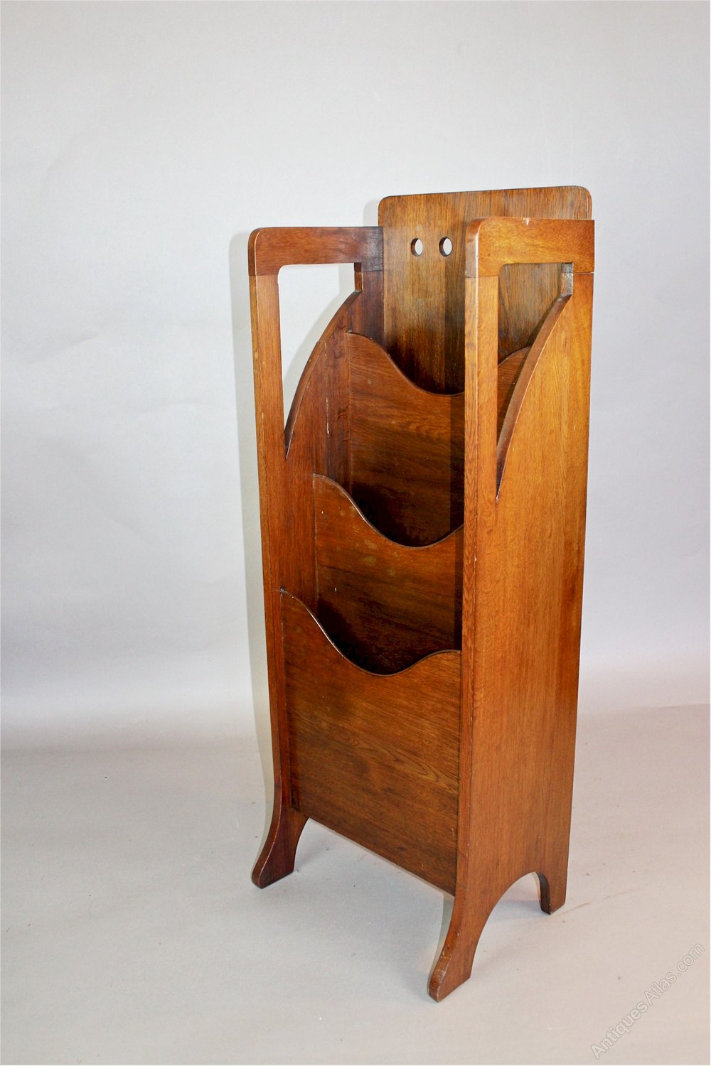 arts and crafts oak magazine rack by finnigans antiques