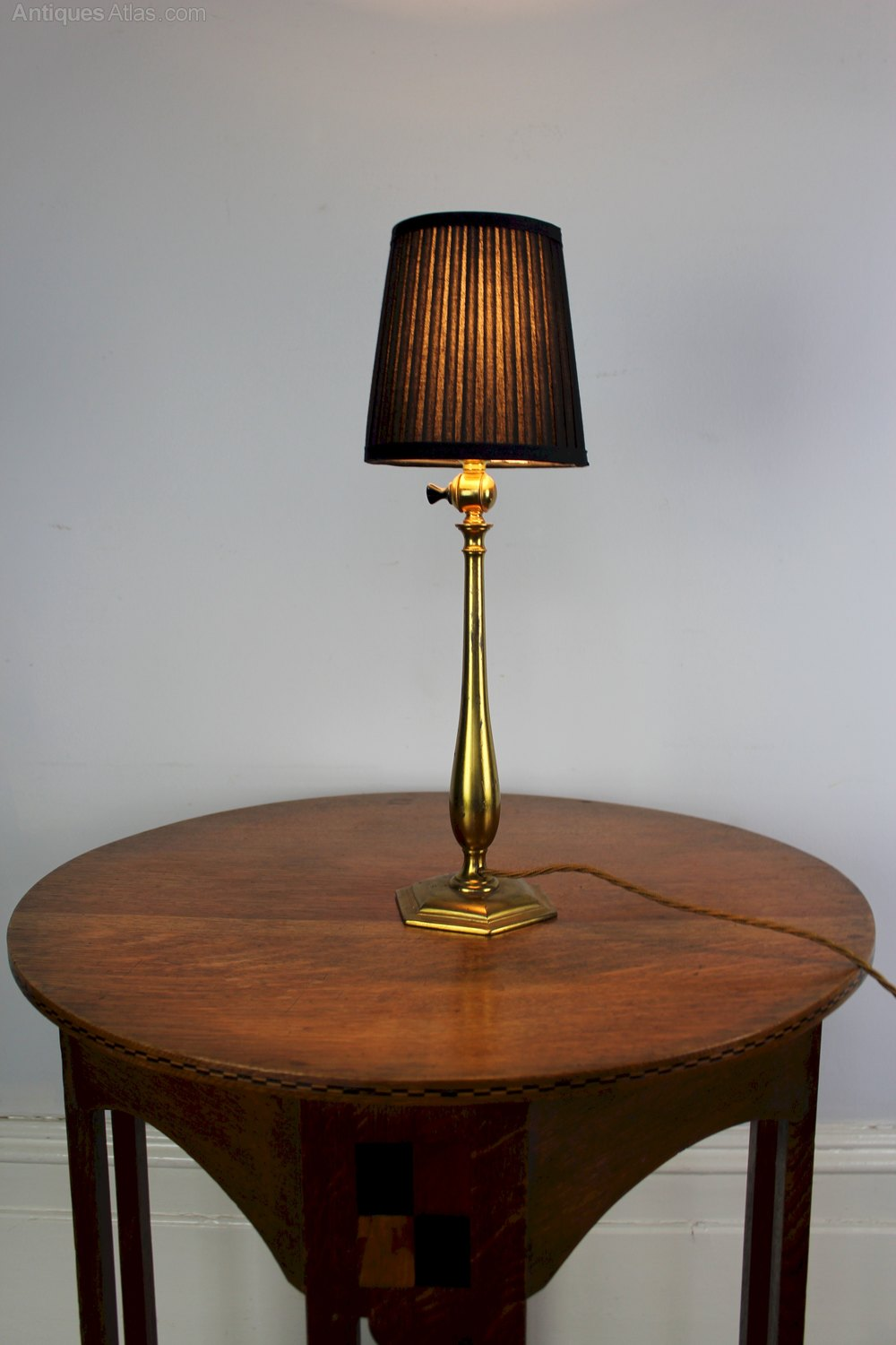 arts and crafts period brass table lamp by faraday and son london. Black Bedroom Furniture Sets. Home Design Ideas