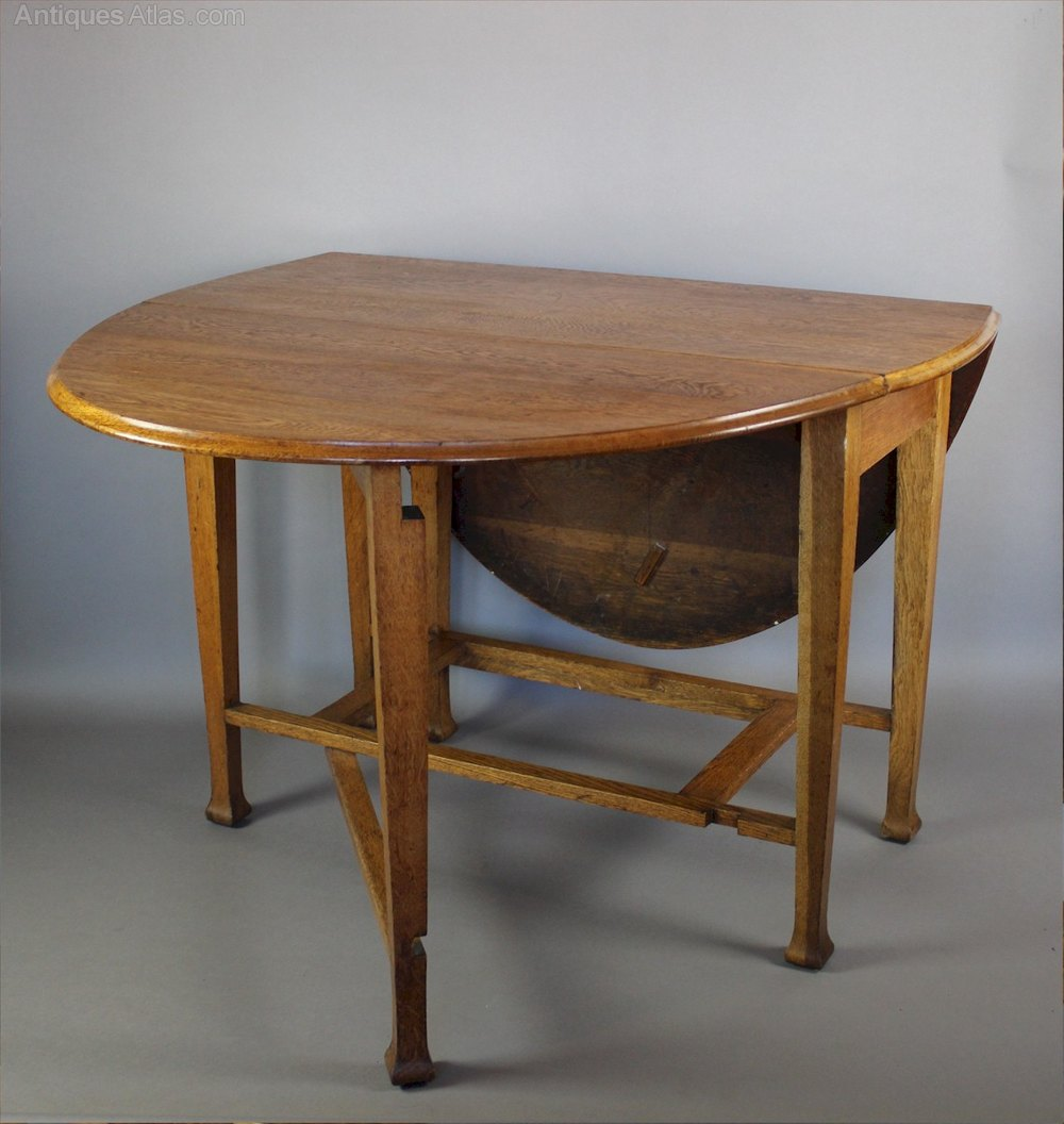 Arts And Crafts Period Oak Gate Leg Dining Table Antiques Atlas
