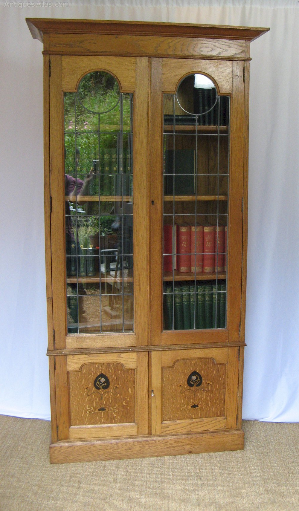 Arts and crafts pewter and ebony inlaid bookcase for Arts and crafts bookshelf