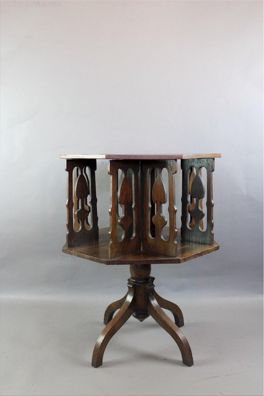 arts and crafts revolving bookcase antiques atlas. Black Bedroom Furniture Sets. Home Design Ideas