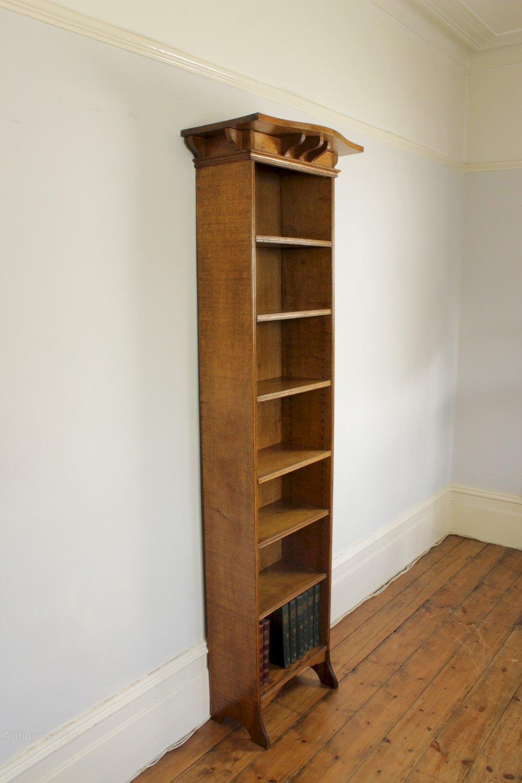 Arts And Crafts Tall Narrow Open Oak Bookcase - Antiques Atlas
