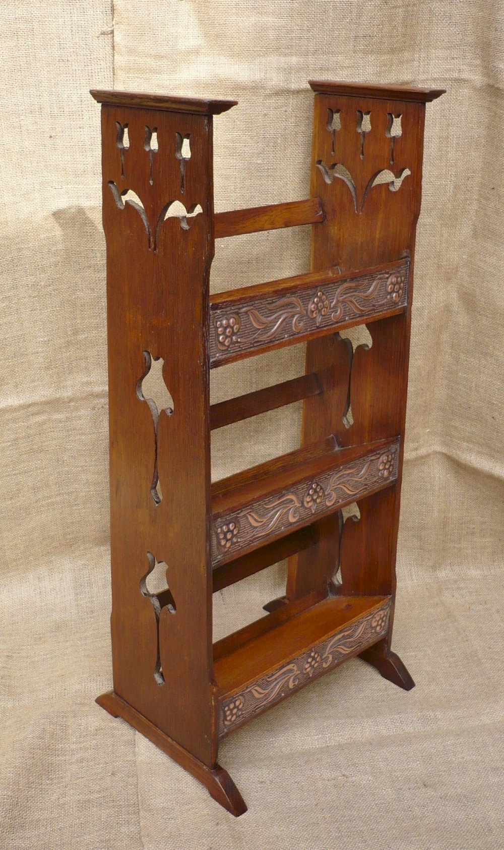 Arts and crafts bookcase in oak with copper panels for Arts and crafts bookshelf