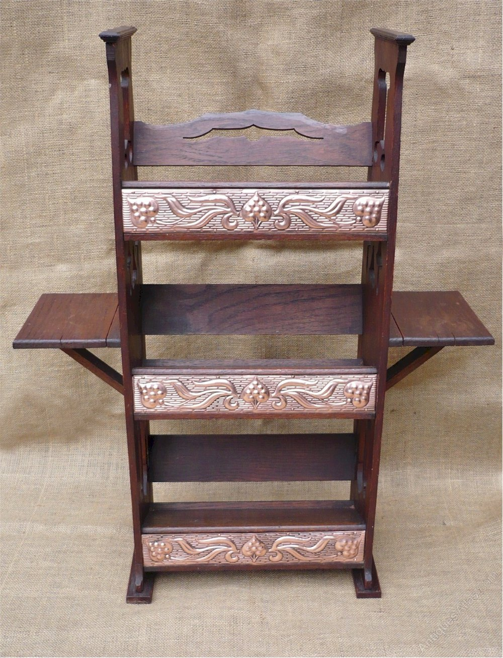 Arts and crafts bookcase with copper panels antiques atlas for Arts and crafts bookcase