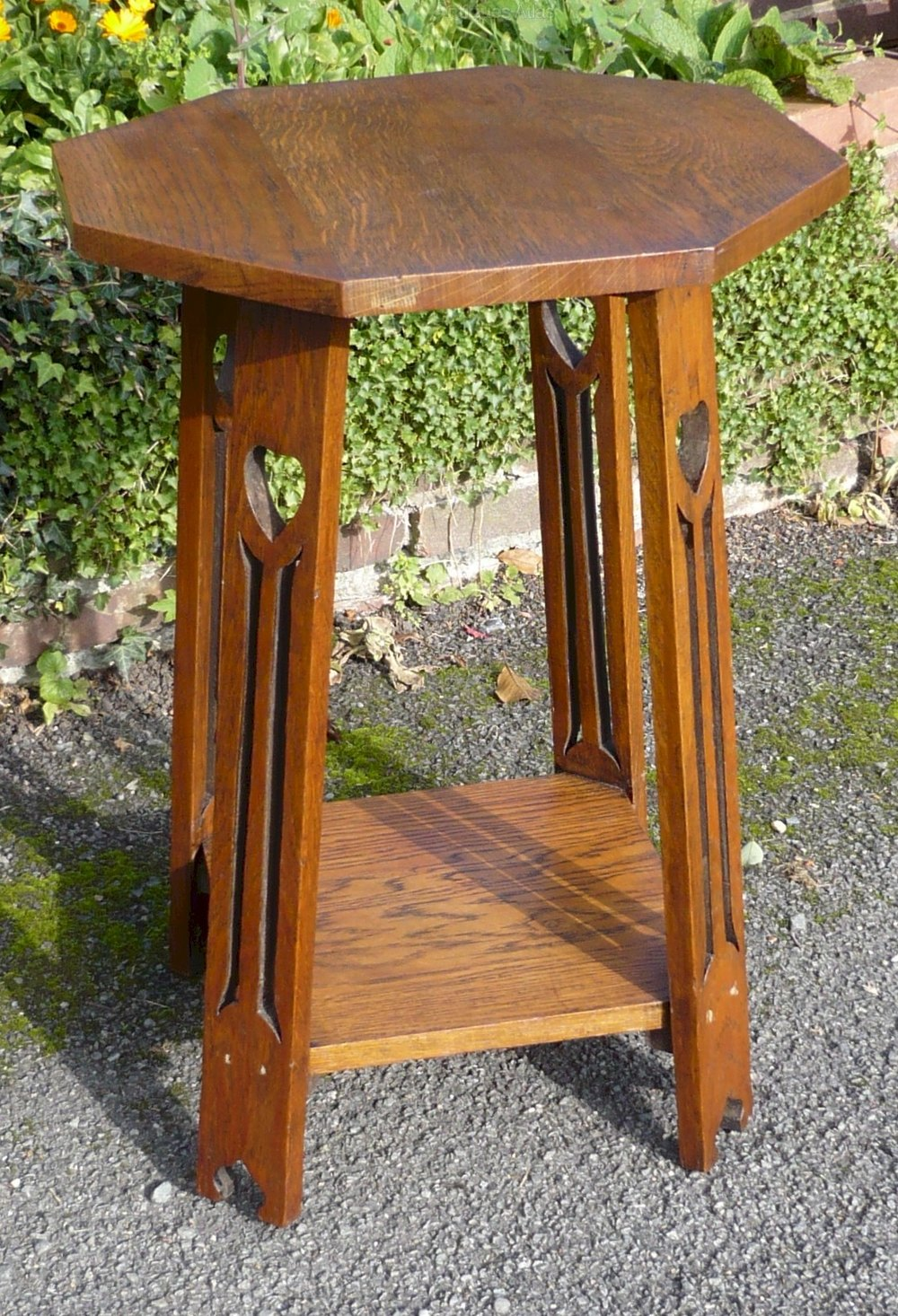 arts and crafts side table in golden oak antiques atlas