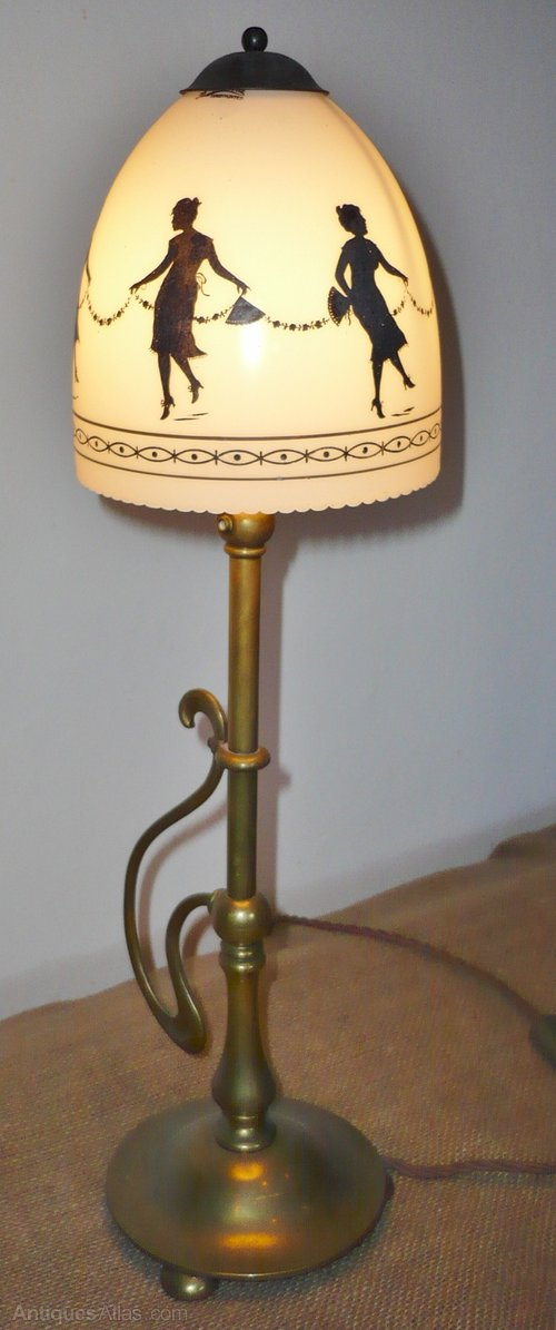 arts and crafts table lamp in brass with hand painted shade of dancing. Black Bedroom Furniture Sets. Home Design Ideas