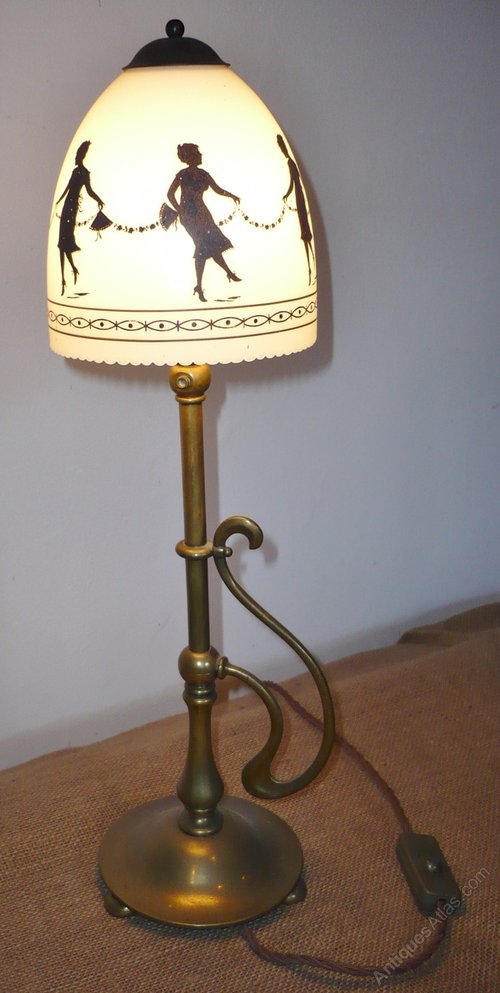 antiques atlas arts and crafts table lamp with hand painted shade. Black Bedroom Furniture Sets. Home Design Ideas