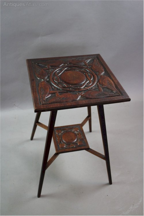 Arts and crafts table with carved birds c1900 antiques atlas for Arts and craft tables