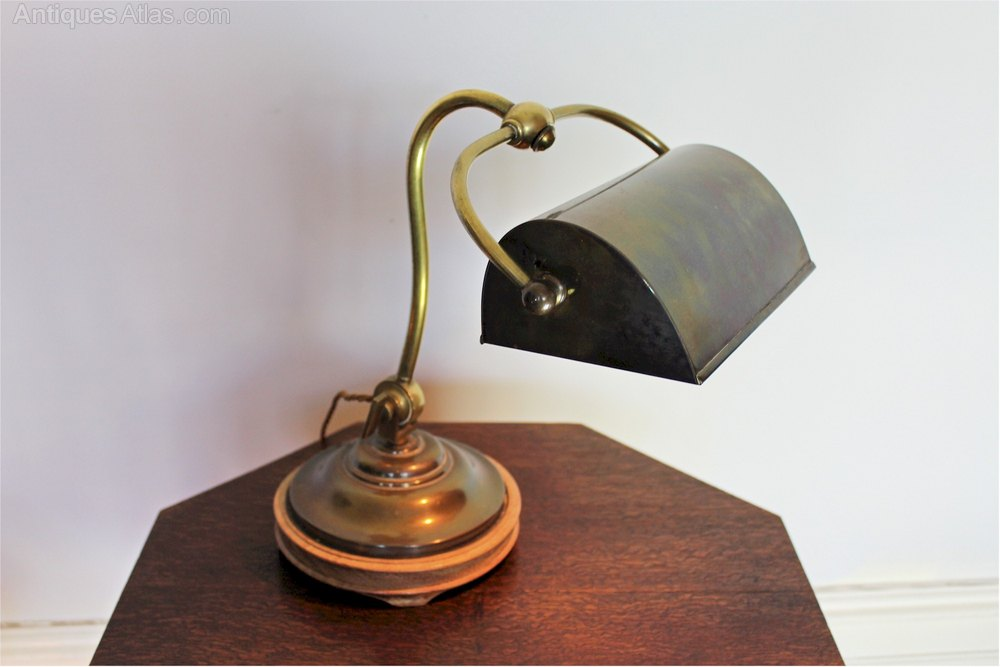 antiques atlas edwardian brass desk lamp by siemans. Black Bedroom Furniture Sets. Home Design Ideas