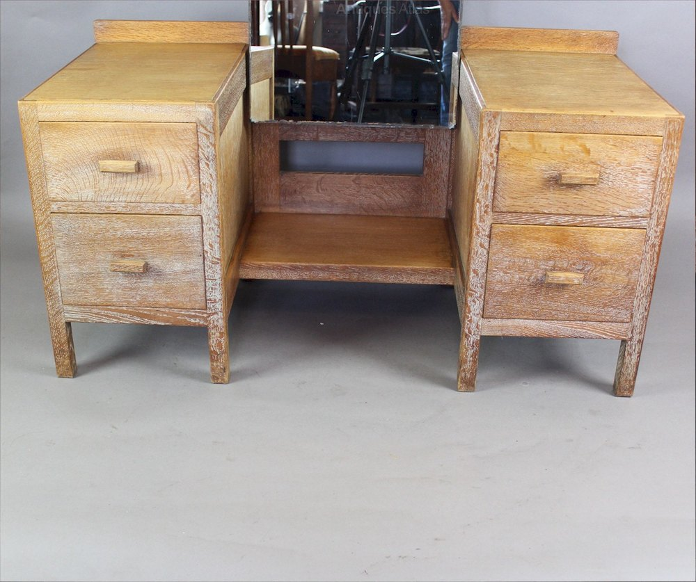 Heals 1930's Limed Oak Dressing Table From The Russet