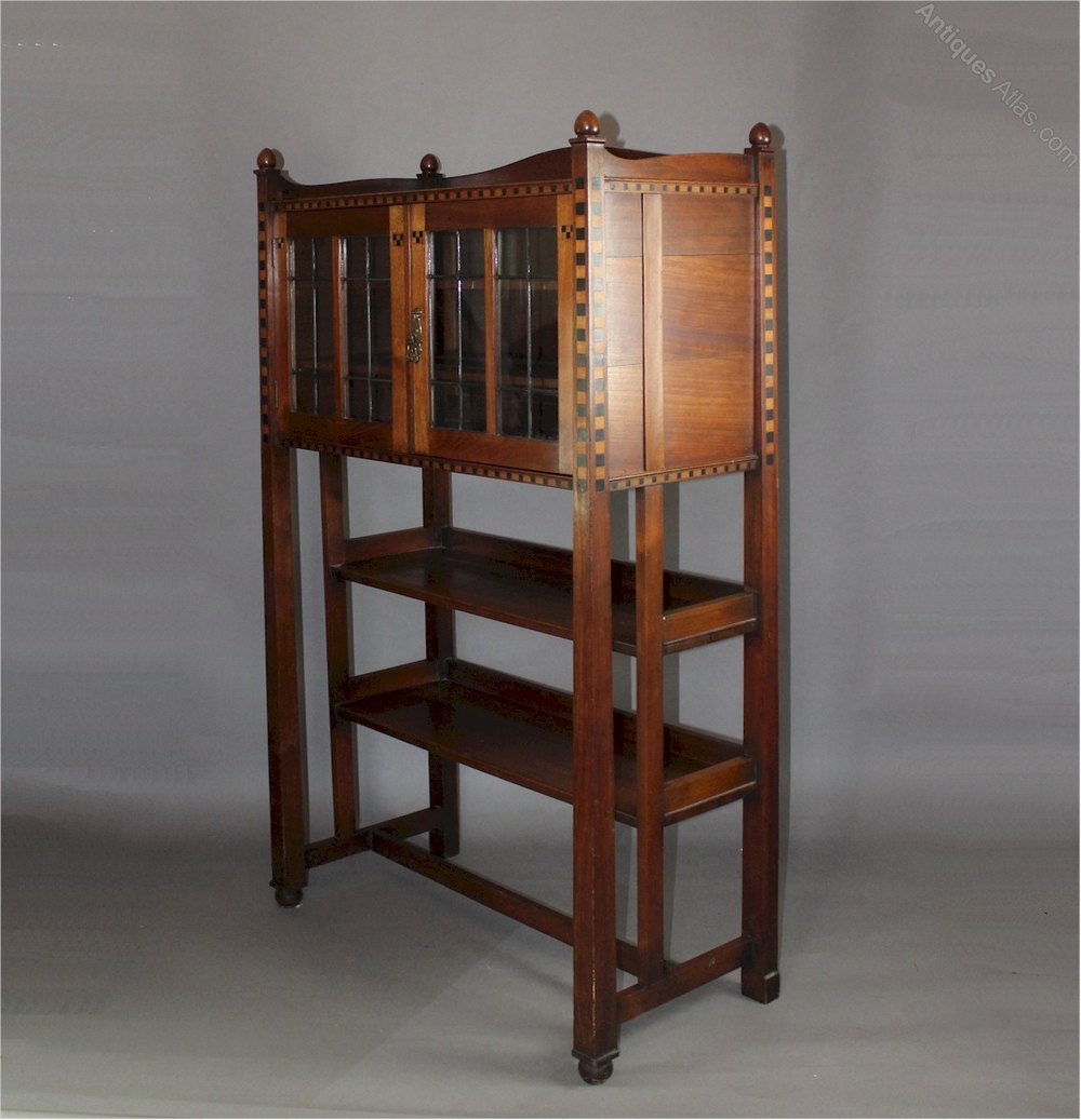 Interesting arts and crafts cabinet in mahogany with bold chequered ...