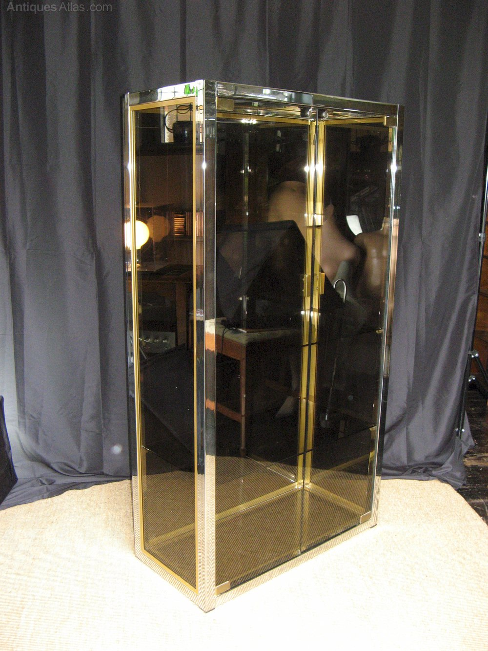 antiques atlas italian 1970 39 s chrome brass and smoked glass vitrine. Black Bedroom Furniture Sets. Home Design Ideas