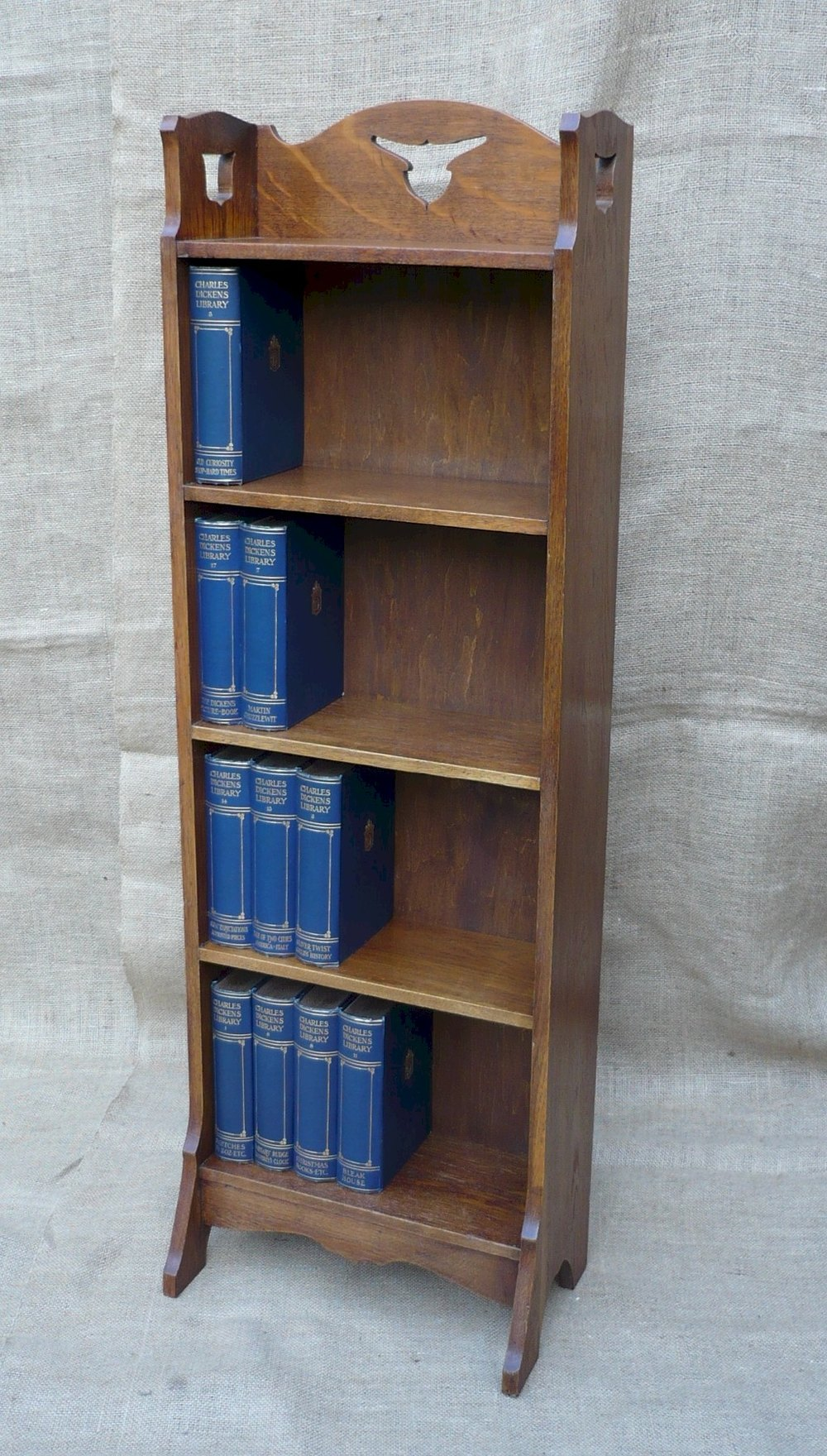 Narrow arts and crafts bookcase in golden oak antiques atlas for Arts and crafts bookshelf