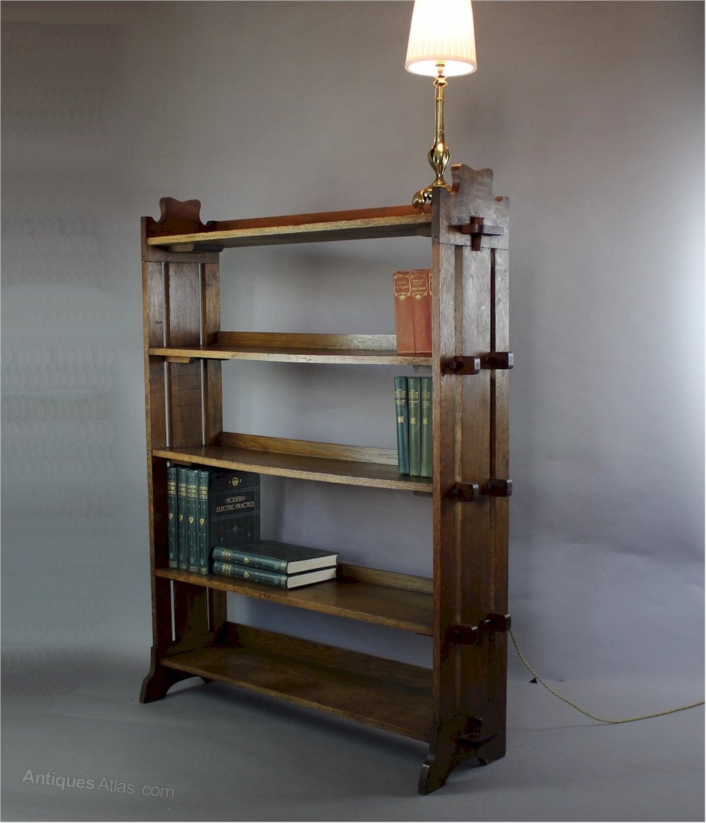 Oak arts and crafts pegged bookcase c1900 antiques atlas for Furniture 30cm deep