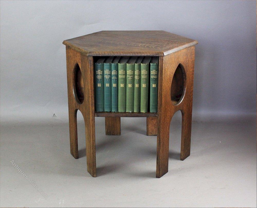 Oak Arts And Crafts Teardrop Book Table C1900 Antiques Atlas