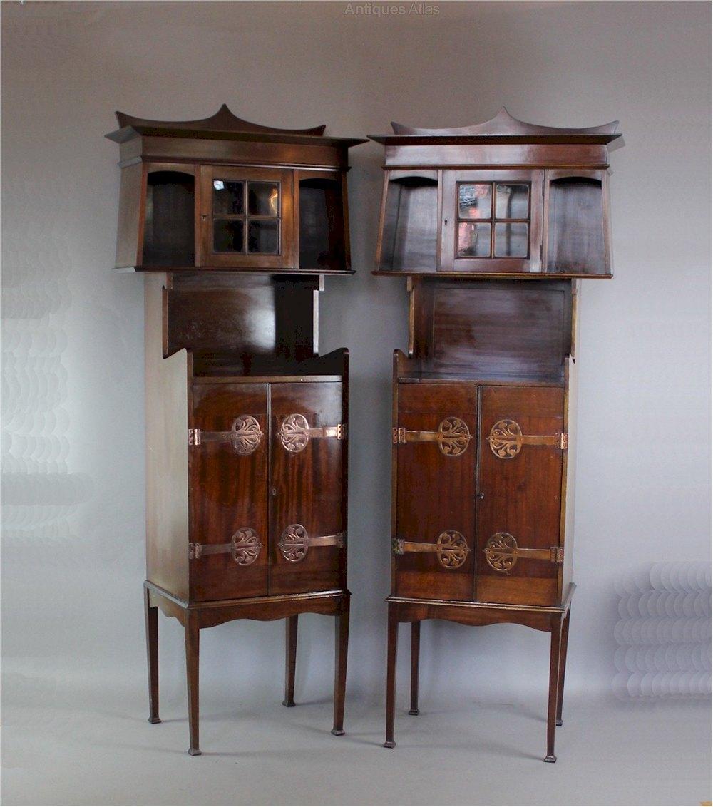 Pair Art Nouveau Arts & Crafts Cabinets Antiques Atlas