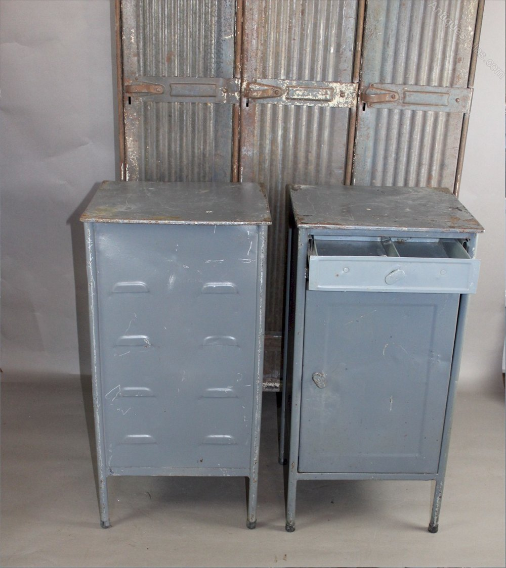 Antiques Atlas Pair Of Industrial Metal Military Cabinets