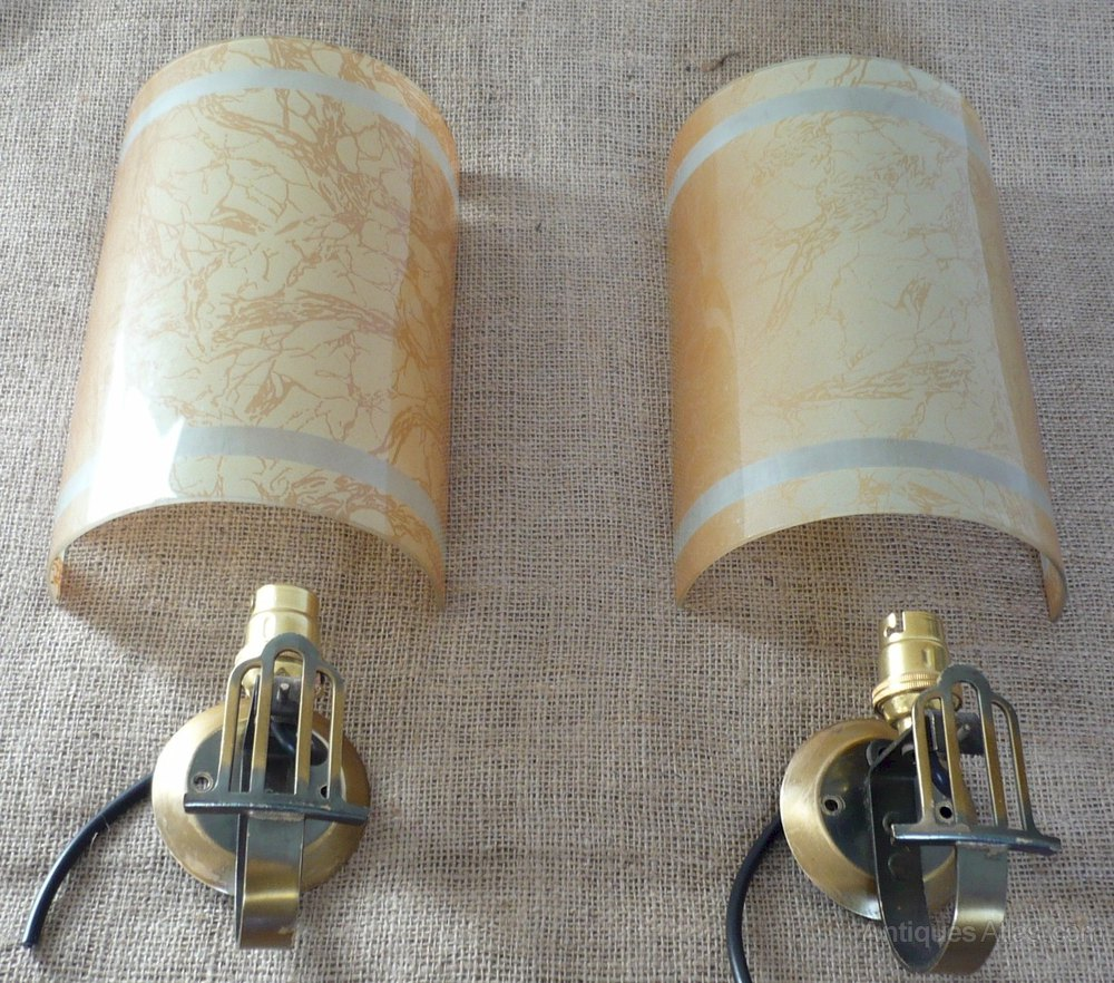 Antiques Atlas - Pair Of Retro Wall Lights In Brass And Glass