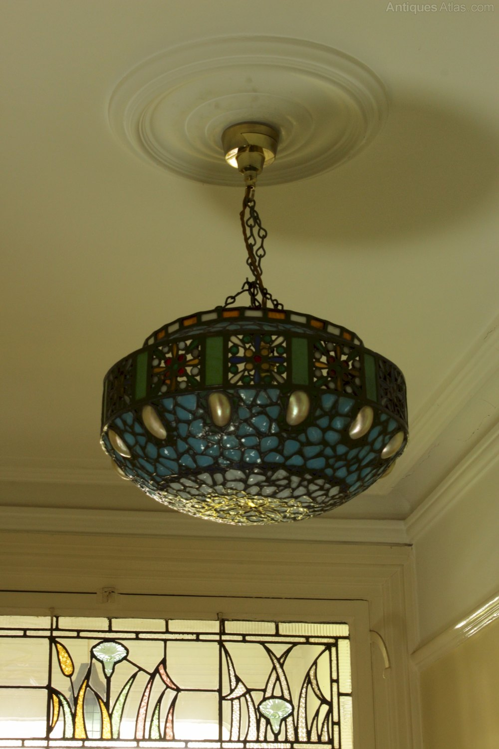 Antiques Atlas Stunning Hanging Lamp Shade With Shells And Glass