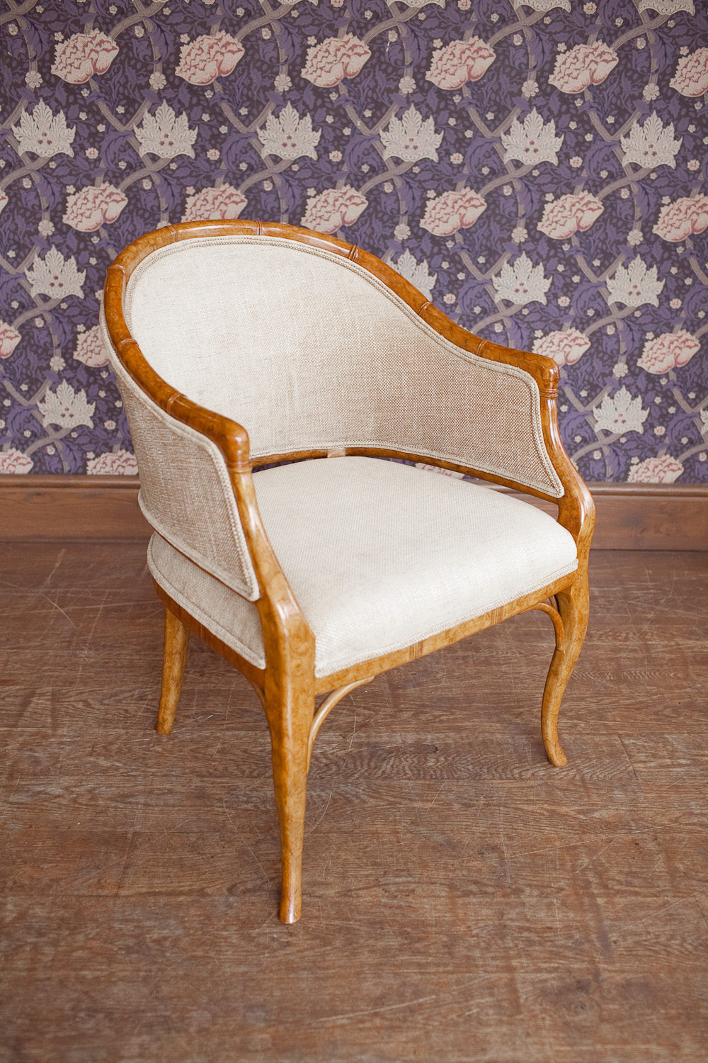 Antique tub chairs - A Faux Bamboo Upholstered Tub Chair Vintage