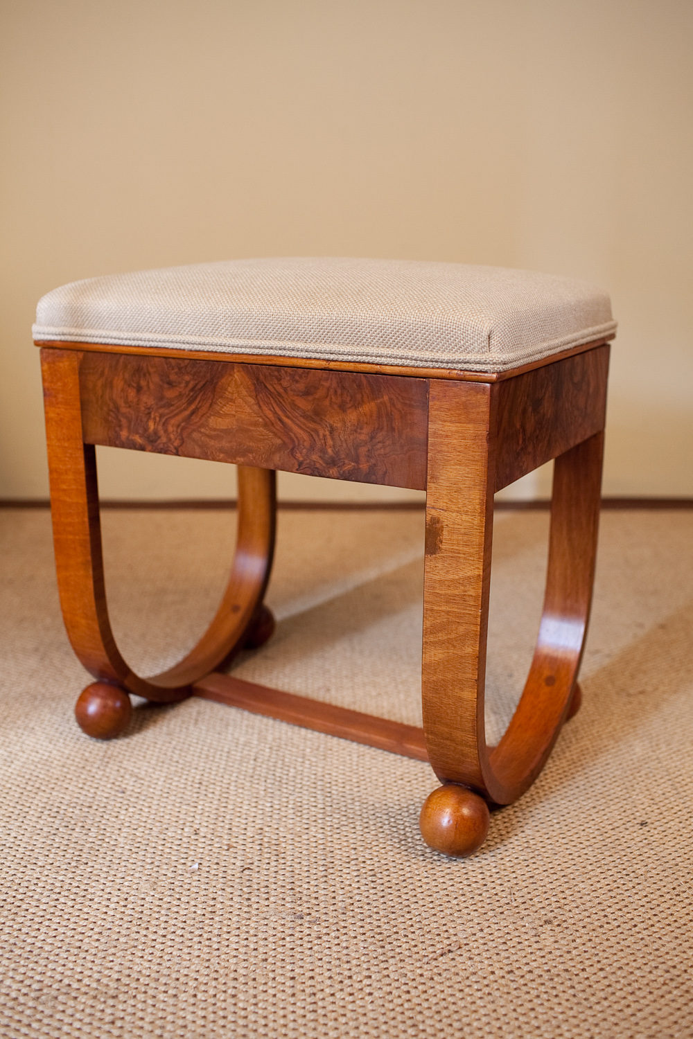 art deco walnut piano stool