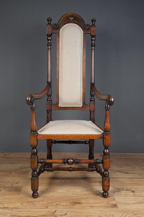 Jacobean Revival Open Arm High Back Chair Antique ... - Jacobean Revival Open Arm High Back Chair - Antiques Atlas