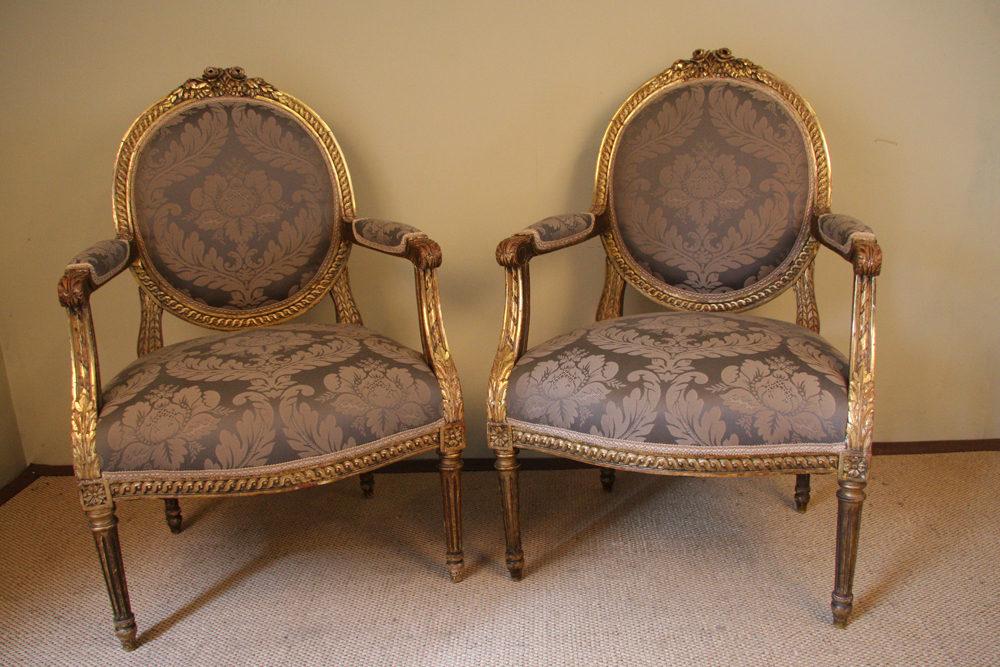 louis xvi style giltwood and gesso salon suite antiques atlas. Black Bedroom Furniture Sets. Home Design Ideas