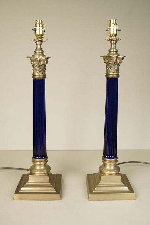 Antiques Atlas Pair Of Corinthian Blue Glass Column Lamps