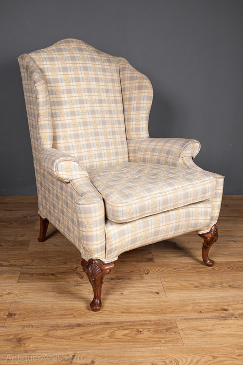 Walnut Queen Anne Style Wing Chair Antiques Atlas
