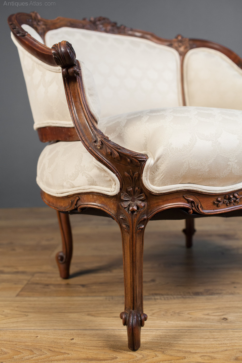victorian carved walnut tub chair