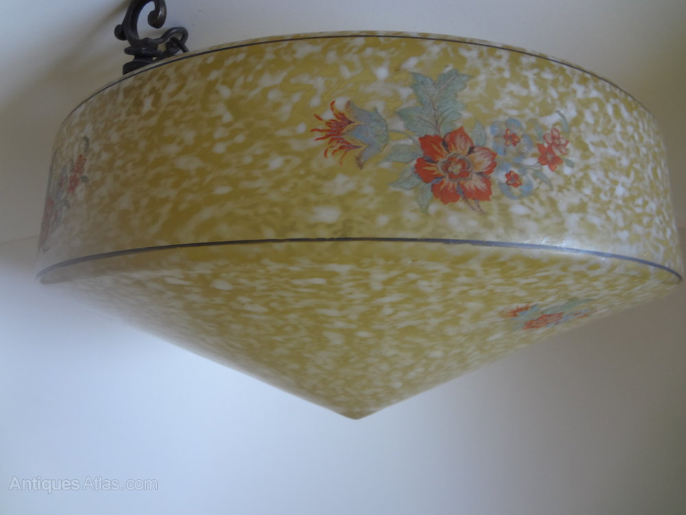 Antiques Atlas Art Deco Floral Ceiling Light Shade
