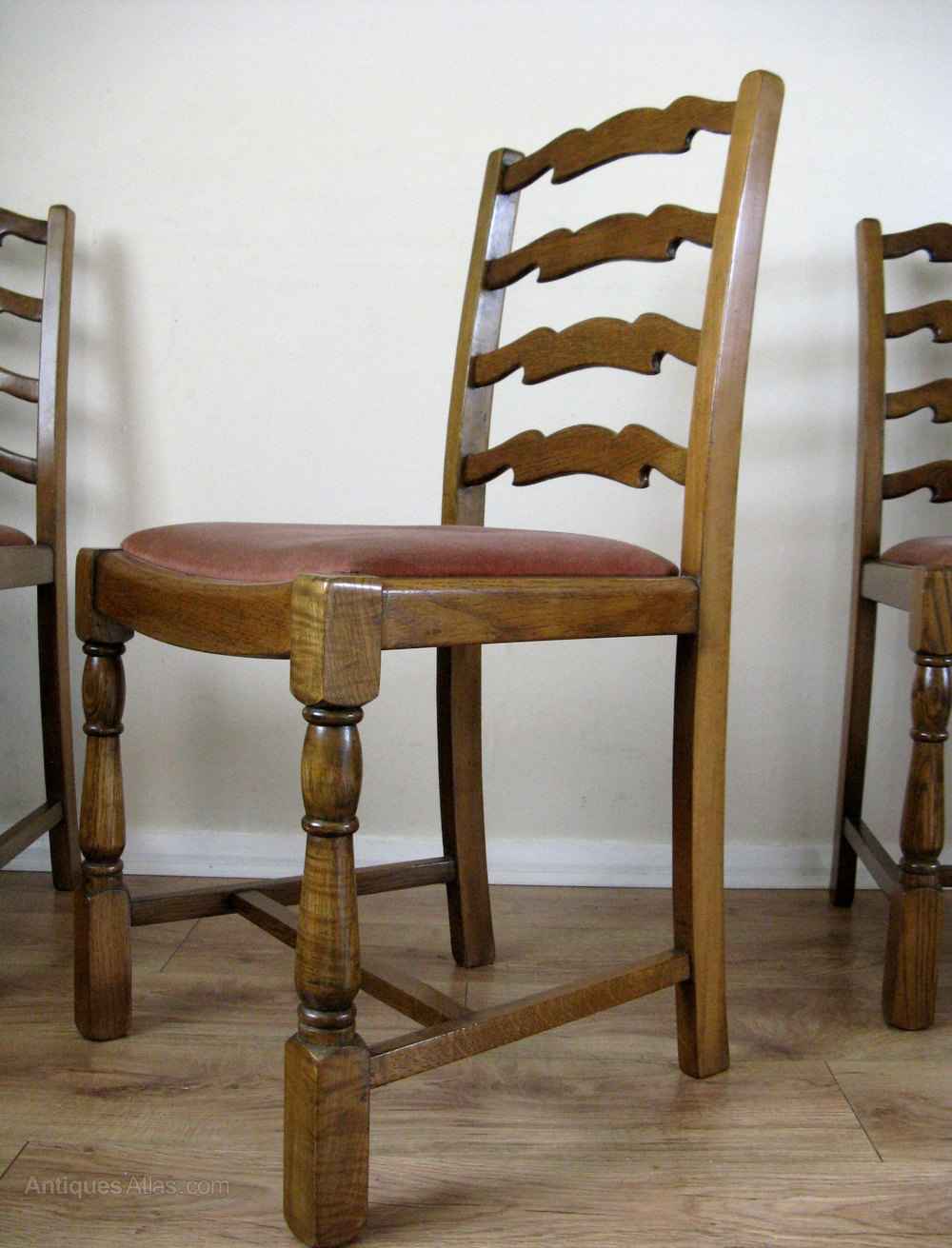 Antiques atlas oak ladder back dining chairs for Antique dining room chairs
