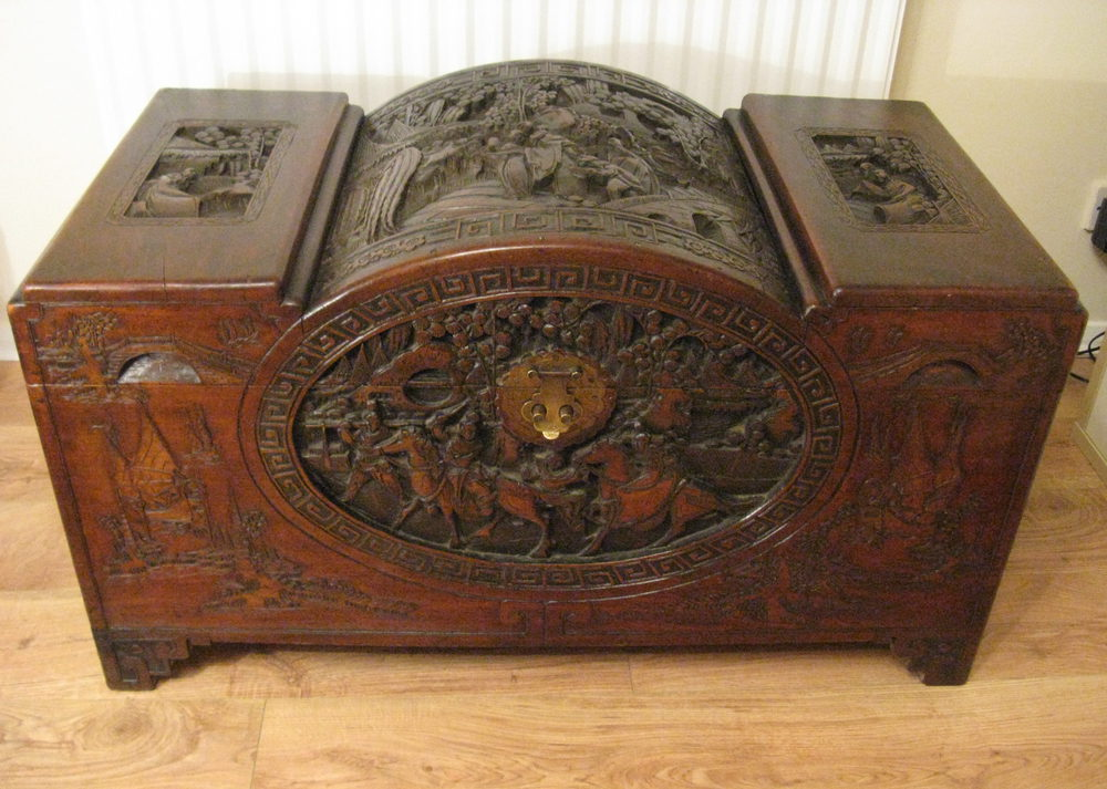 Oriental carved camphor wood chest antiques atlas