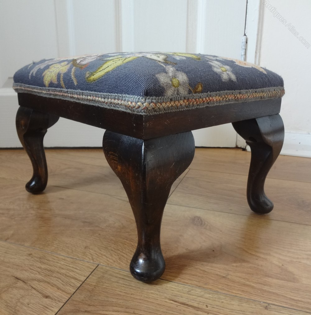 Antiques Atlas Vintage Floral Tapestry Upholstered Footstool