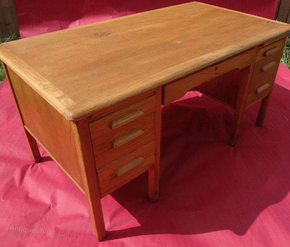 vintage office table. vintage oak office desk table f