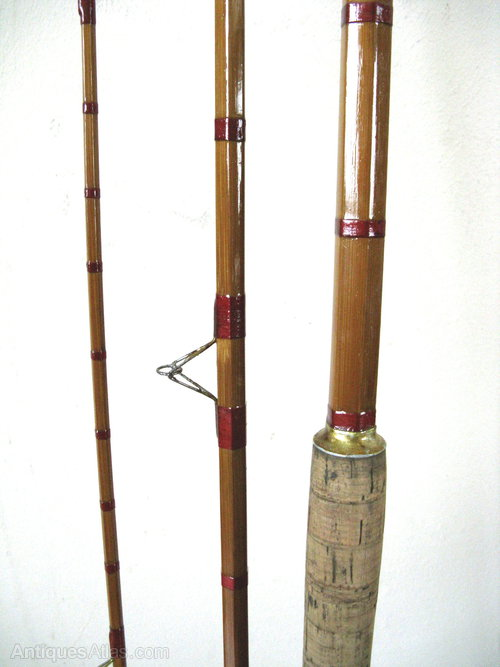 Antiques atlas vintage split cane fishing rod for Vintage fishing poles
