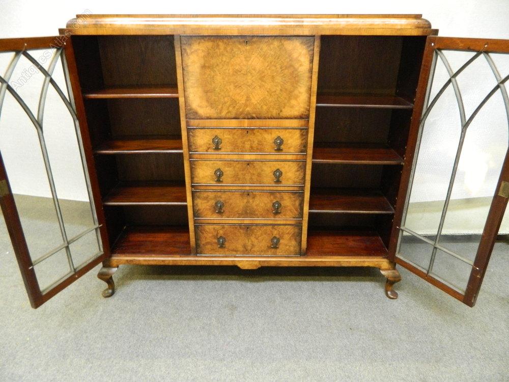 Art deco walnut bureau cabinet antiques atlas