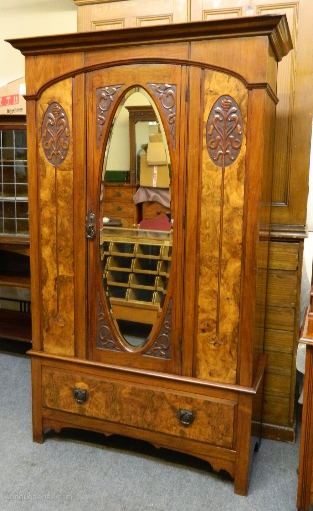 Art Nouveau Walnut Wardrobe Amp Dressing Table Antiques Atlas