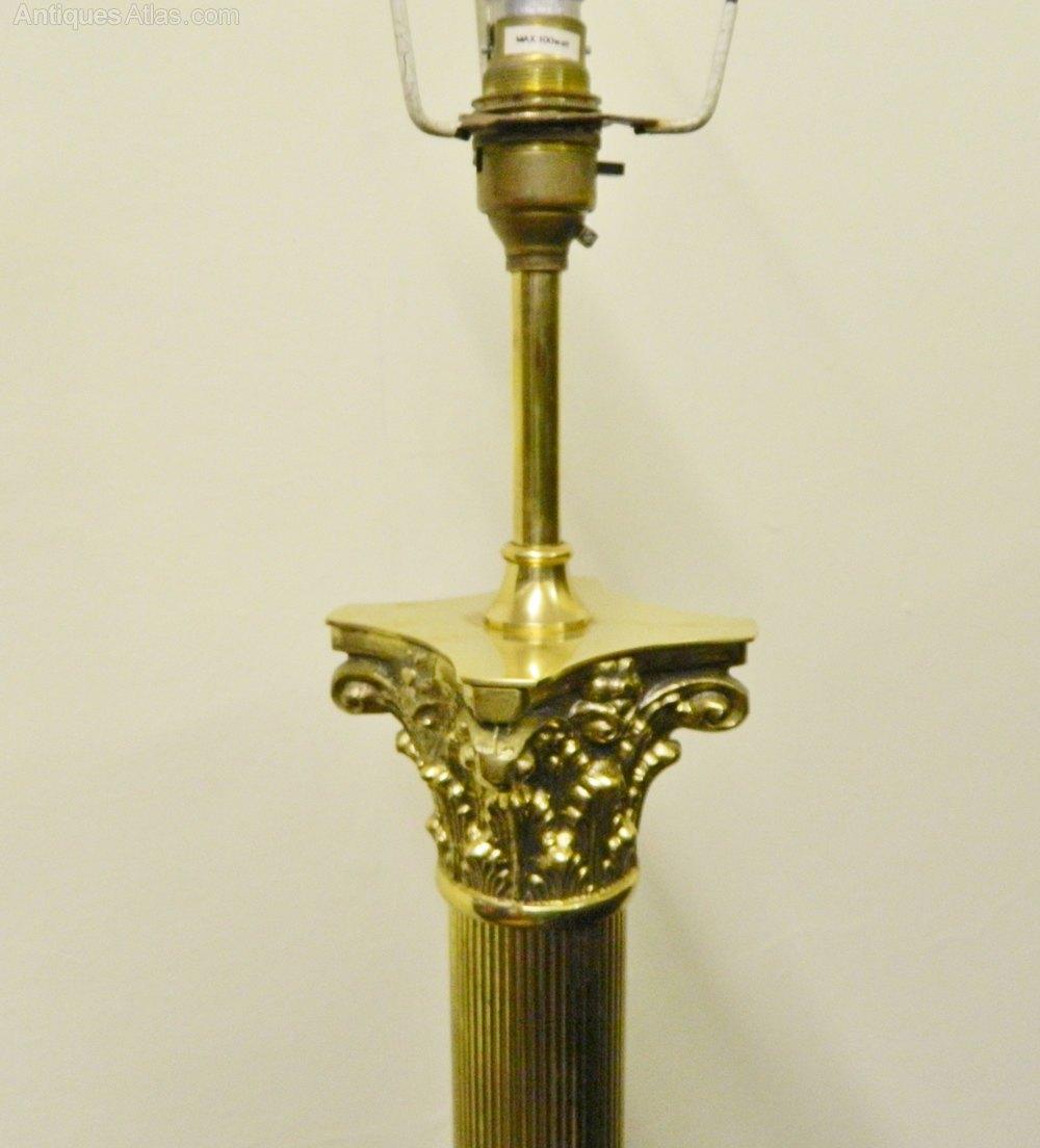 Brass Corinthian Column Standard Lamp