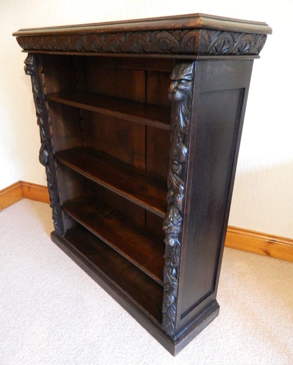 Antique Bookshelves: Carved Oak 'green Man' Bookcase