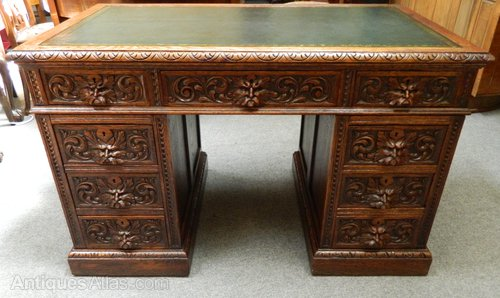 Carved Oak Green Man Desk Antiques Atlas