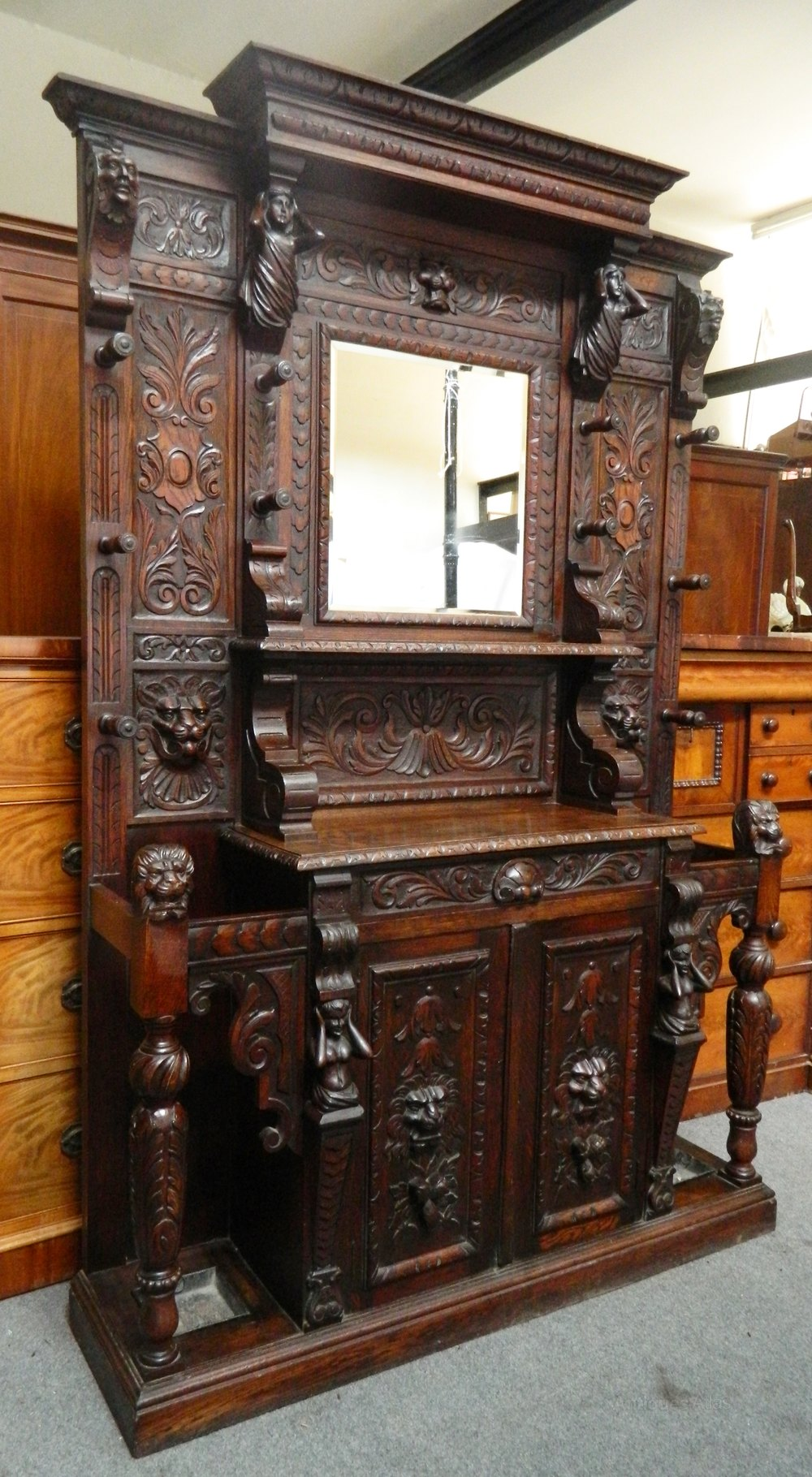 Large impressive carved oak hall stand antiques atlas