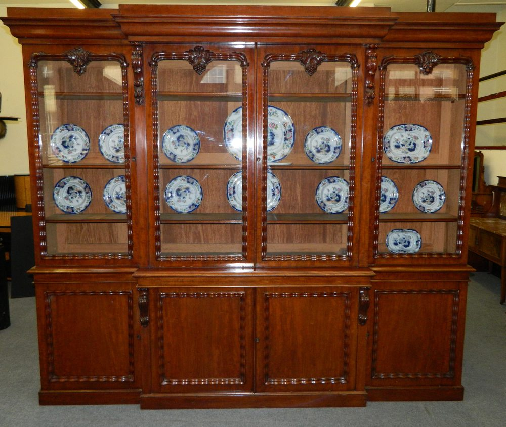 Large mahogany breakfront bookcase antiques atlas for Chinese kitchen cabinets for sale